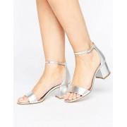ALDO Villarosa Leather Block Heel Sandals - Silver (Sizes: UK 4)