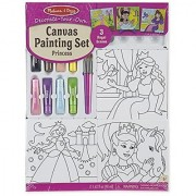 Melissa & Doug Canvas Painting Set: Princess - 3 Canvases 8 Tubes of Paint