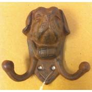 Cast iron dog face double hook wall hanger