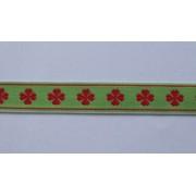 Krojová stuha šírka 1,5 cm vyšívaná zeleno-?ervená