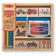 Melissa & Doug Wooden Stamp Set: Vehicles - 10 Stamps 5 Colored Pencils 2-Color Stamp Pad
