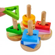 ACOOLTOY Stacker Geometric Intelligence of Hollow Blocks Order Set Geometric Shapes (Column Set)