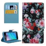 Beautiful Flowers Pattern Horizontal Flip Leather Case with Holder & Card Slots & Wallet for Samsung Galaxy J2 / J200