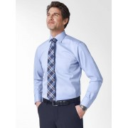 Walbusch Extraglatt-Strukturhemd Blau 44