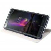 Monedero Caso Para Lenovo Phab 2 Plus ,Popsky Cuero Carcasa Flip Protección Soporte Con Cover (Blanco