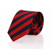 Krawatte Seide Rot - Navy Streifen FD06 - Rot