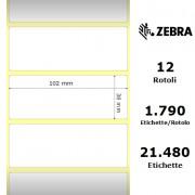 Zebra Z-Perform 1000T - Etichette in carta normale (vellum) di colore bianco, formato 102 x 38 mm.