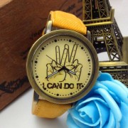 """Jeans Horloge met V-teken en """"I Can Do It"""" op de Wijzerplaat"""