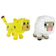 Minecraft Sheep and Ocelot Plush Set 6-8 Inches