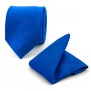 Krawatte und Einstecktuch Set Seide Kolbaltblau F65 - Blau