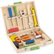 Top Race 12 Piece Tool Box Solid Wood Tool Box with Colorful Wooden Tools Construction Toy Role Play Set
