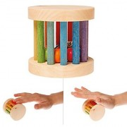 Grimm's Shake Rattle & Roll Baby Toy - Mini Wooden Rainbow Rolling Wheel