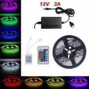5Metri x Banda LED RGB Cu Telecomanda si Transformator Tip 5050 Waterproof