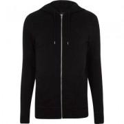 River Island Black muscle fit zip up hoodie