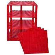 Premium Red Stackable Base Plates - 4 Pack 10 x 10 Baseplate Bundle with 60 Red Bonus Building Bricks (LEGO Compatible