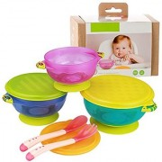 Stay Put Baby Feeding Bowls 3 Size Baby Bowl Set Baby Utensils Bowls And Spoons