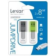 Lexar JumpDrive S50 Memoria Flash, USB 2.0, 8 GB, Confezione da 2 Pezzi, LJDS50-8GBABEU2