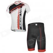 CHEJI GL-01 de ciclismo al aire libre del poliester corto manga Jersey + Shorts para hombres - Rojo + Negro (XL)