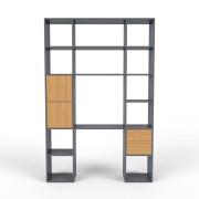 mycs MDF - système d'étagère moderne anthracite - L 153 cm x H 232 cm x P 34 cm
