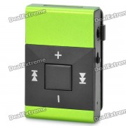 Rechargeable Clip-On Screen Free MP3 Player w/ TF Slot / 3.5mm Jack - Black + Green