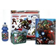 Marvel Avengers Fun Set- Sports Water Bottle, Avengers 3-D Mini Lunch Box Tote, Avengers Notebook and Stickers