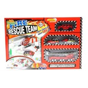 ZERBO TRACK SET Fire Rescue Team - Rescuing Playtime on Track Length of 180 cm, 3-Ramps of Rescue Vehicles, 29 Piece