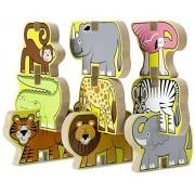 Safari Themed Stacking Chunky Puzzle Set + FREE Melissa & Doug Scratch Art Mini-Pad Bundle [90247]