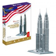 Petronas Towers - World Great Architecture - 86 Pieces 3D Puzzle - Cubic Fun Series (japan import)