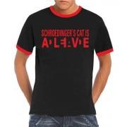 Touchlines Kontrast schroedingers cat wanted ringer Camiseta, color negro /rojo, talla XXL