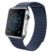 APPLE 42MM STAINLESS STEEL CASE WITH MIDNIGHT BLUE LEATHER LOOP - MEDIUM