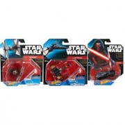 Hot Wheels Star Wars Kylo Ren Character Car and First Order Special Forces TIE Fighter & The Force Awakens X-Wing Fighter Vehicles