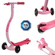 FASCOL® Twist & Roll Patinete 3 ruedas para niños,mini micro patinetes freestyle scooter con Freno individual y PU ruedas in Rosa
