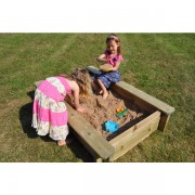 1m x 1m Wooden 44mm Sand Pit 429mm Depth and Play Sand