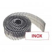 Pointes 16° 2.1x38 mm crantées INOX A2 TB en rouleaux plats fil inox X 14700