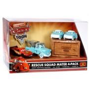 Disney / Pixar CARS TOON 1:55 Die Cast Car Rescue Squad 4-Pack #1 (Dr. Mater, Burnt McQueen, Nurses Mia and Tia) by Disney