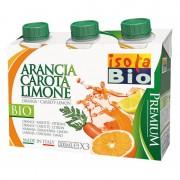 Bautura bio premium de portocale, morcovi si lamaie Isola Bio 3x200ml