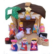 Softtoys Fabric Nativity House Childrens Manger Play Set With Finger Puppets