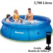 Piscina Inflável 3700 Lts Bestway + Bomba Inflar Manual 305cm diâmetro x 76cm altura mod 57009