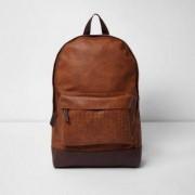 River Island Mens Brown lattice strap backpack