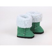 "Green Fur Boots For Dolls, Ready For The Winter!!! Fits 18"" American Girl Dolls, Gotz, Our Generation Madame Alexander And Others"