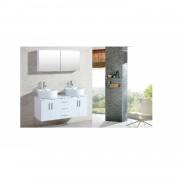 Le Maia Blanc : Ensemble meuble de salle de bain, 2 vasques, 1 miroir
