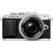 Aparat Foto Mirrorless Olympus E-PL7 silver Zoom Kit EZ-M1442EZ 3.5-5.6 Bonus Geanta Foto Olympus Street + Card de Memorie Verbatim
