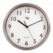 Ceas rotund de perete, D-250mm, cifre arabe, TIQ - rama aluminiu - dial alb