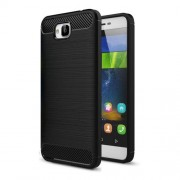 Huawei Enjoy 5 & Y6 Pro Brushed Texture Carbon Fiber TPU Protective Case(Black)