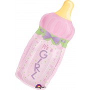 Balon super forma biberon folie - fetite - roz