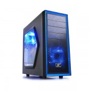"CARCASA DEEPCOOL ATX Mid-Tower, 2* 120mm BLUE LED fan (incluse), side window, front audio & 1x USB 3.0, 1x USB 2.0, black ""TESSERACT SW"""