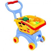 (US STOCK) Arshiner Kids Little Supermarket Shopping Cart with Vegetable and Fruits Blue