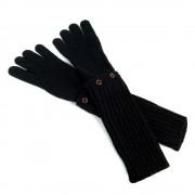 Długie krótkie rękawiczki MITENKI w kolorze czarnym