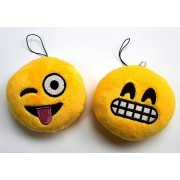 Syleia Emoji Set of 2 Face Grin and Face with Stuck-Out Tongue and Winking Eye Yellow Bright Plush Toy, Backpack Purse Accessory, Keychain, Car Charm by Syleia