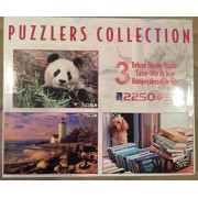 Puzzlers Collection 3 Puppy In The Window 1000, Lighthouse Sunset 750, Giant Panda 500